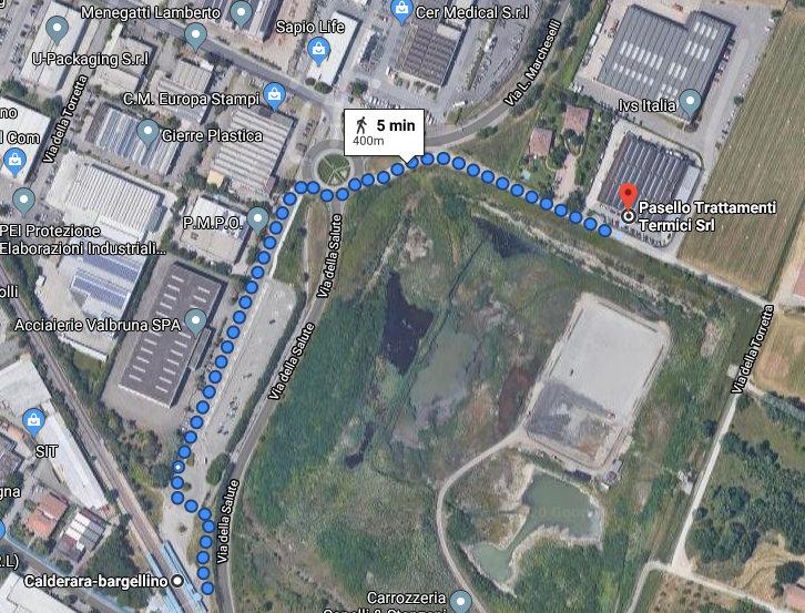 Google Map: percorso dalla stazione allo stabilimento